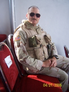 Chuck watching a parade in Afganistan